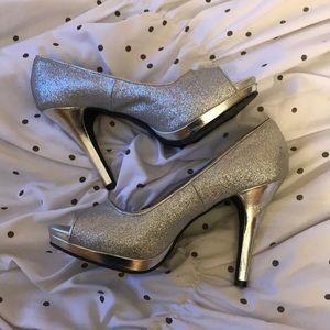 Silver glitter Prom heels
